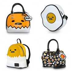 These Loungefly Gudetama Bags Look Lazy And Tasty Kawaii Fashion, Cute Fashion, Sanrio, My Bags, Purses And Bags, Tama, Hello Kitty, Kawaii Shop, Kawaii Bags