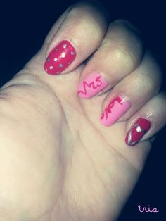 S. Valentine's Day /romantic/pink/silver/red/heart nails