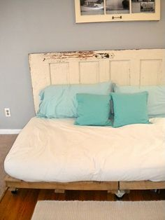 pallet bed with door headboard