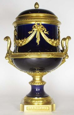 A Very Fine Napoleon III Cobalt Blue Sevres Porcelain & Gilt-Bronze Mounted Urn with Cover. Circa: 1870