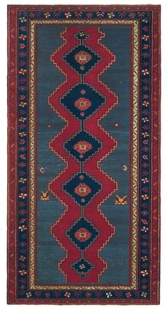 LAMBALO KAZAK - Southern Central Caucasian, 5ft 5in x 10ft 6in, Late 19th Century. Preserved in heavy-pile condition, this stunningly elemental Caucasian Lambalo Kazak antique rug communicates across more than a century the vivacity and simplicity that its weaver sitting at her loom intended.