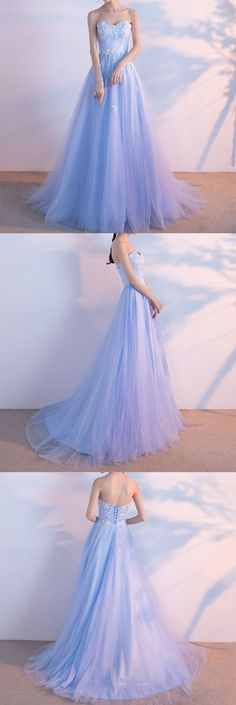 Little Cute | High quality light blue sweetheart neck tulle lace long prom dress, evening dresses | Online Store Powered by Storenvy