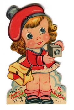vintage valentine - girl with camera