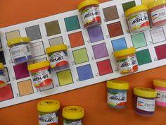 Arenas de colores, papel de una y doble cara para arenas, fijadores, etc.