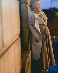 beige, coat, and hijab image