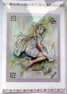Fairy HandCrafted 3D Decoupage Card With Love by SunnyCrystals, £1.65