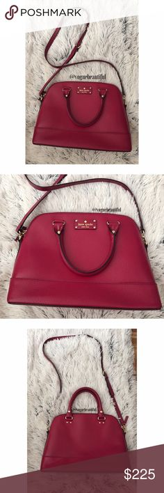 Kate Spade Wellesley Rachel in Plumberry Absolutely stunning 100% authentic & LIKE NEW, Kate spade Wellesley Rachelle in plumberry • it's a gorgeous wine color that my camera doesn't even do justice, color may vary slightly from photos taken in daylight • can be used as a crossbody or a handbag • crossbody strap is adjustable and the handle strap drop is 4.25 inches • DIMENSIONS; 12.5 inches across x 9.5 inches in height • the perfect size for a day's essentials! • NO TRADES‼️ kate spade…