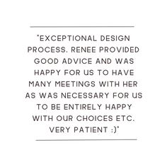Testimonial about our design process.