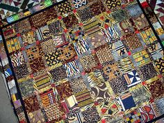 African Quilt  made almost exclusively from imported African fabrics
