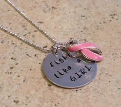 Fight Like a Girl / Breast Cancer Awareness / Hand Stamped Necklace by BrandedBlessings on Etsy