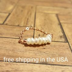 rose gold ring pearl FREE SHIPPING 14k gold filled filled