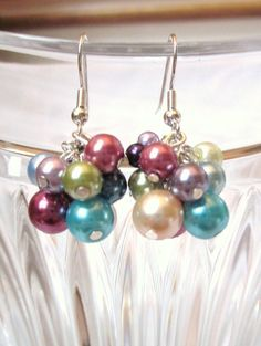 Earrings Multicolor Rainbow Pearls