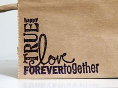 Detail of hand-embossed stamp for #wedding welcome bag - very easy and very elegant!  You can emboss it in any color you like.