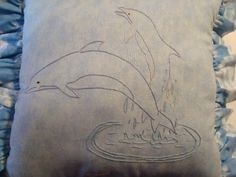 Hand embroidered dolphin pillow by TikiHutCrafts on Etsy, $25.00
