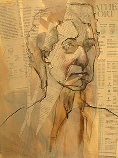 Layered collage figure