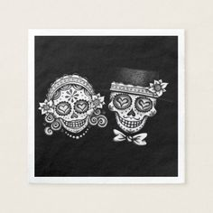 Shop Sugar Skulls Couple Paper Napkins for Wedding created by thaneeyamcardle. Custom Napkins, Personalized Napkins, Graphic Design Flyer, Flyer Design, Halloween Wedding Gown, Old School Wedding, Day Of The Dead Party, Sugar Skull Design, Halloween Queen
