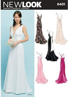 Wedding Dress Sewing Patterns, Formal Dress Patterns, New Look Patterns Sewing, Vintage Patterns, Patterned Bridesmaid Dresses, Wedding Dresses, Gown Wedding, Formal Wedding, Evening Gown Pattern