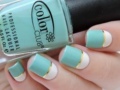 Barry M Coconut ; Color Club New Bohemian ; gold striping tape ; 4/9/15