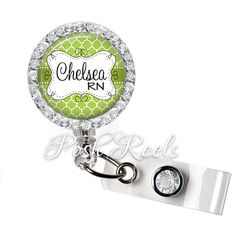 Retractable ID Badge Reel Personalized Bling by PoshReels on Etsy