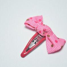 Barrette bébé  noeud  rose / pince mini clic-clac bébé fille