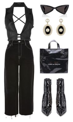 """""""Untitled #1793"""" by lucyshenton ❤ liked on Polyvore featuring Ann Demeulemeester, Comme des Garçons, Yves Saint Laurent, Topshop and Balenciaga"""