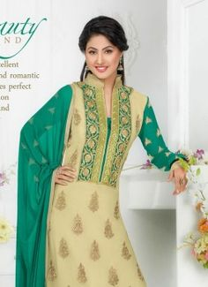 Buy Beige - Green Party Wear Salwar Suit at Rs. Get latest party wear suits for womens at Ethnic Factory. Latest Party Wear Suits, Salwar Suits Party Wear, Party Wear Dresses, Pakistani Suits Online, Salwar Suits Online, Designer Salwar Suits, Salwar Kameez Online Shopping, Suits Online Shopping, Womens Clothing Stores