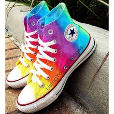 TIE DYE CONVERSE Rainbow Custom Tie Dye Hi Top Converse Reserved ($90) ❤ liked on Polyvore featuring shoes, sneakers, converse, rainbow, 18. converse., rainbow footwear, high top shoes, tie dyed shoes, tye dye shoes and converse footwear