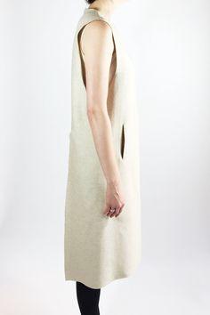 Robe tunique en laine beige