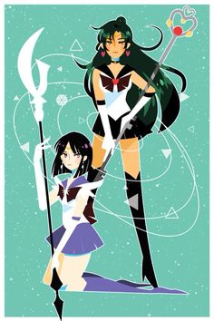 Sailor Pluto and Saturn