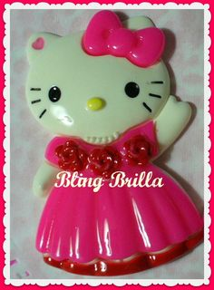 XL 85mm HELLO KITTY Prom Wedding Cab Flatback by BlingBrilla, $6.50-->phone decoration, scrapbooking, crafts, make into magnet, etc.