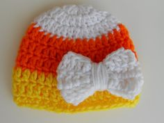 Newborn Candy Corn Fall Crocheted Hat with Bow by DavlinDesigns