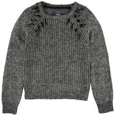 Le Temps des Cerises Mottled black loose stitch knit sweater with cabochons Black - 95221   Melijoe.com