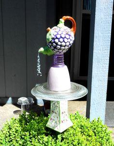 garden art - teapot tower