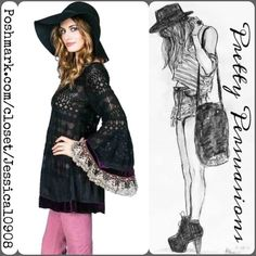 "NEW Free People Embellished Bell Sleeve Lace Tunic BRAND NEW WITHOUT TAGS ~ Gypsy Junkies for Free People RARE Black Embellished Bohemian Tunic/Dress ~  Beautiful Embroidered Mesh Pattern  Heavy Embellished  Bell Sleeves adorned with Velvet Fabrics, a Sequin Threaded Velvet layer, plunging back with strap detail & finished off with the most amazing Metallic threaded Lace Bell Shaped Sleeves Tunic Bottom Adorned with bohemian complimentary Velvet Fabrics Labeled Size M/L Length: 31.5"" Bust…"