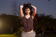 Raw Cotton Open Back Top Brown  Nomatic Crop Open by AryaClothing