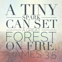 James 3:5 (So also the tongue is a small member, yet it boasts of great things. How great a forest is set ablaze by such a small fire! ...the tongue is a fire, a world of unrighteousness. The tongue is set among our members, staining the whole body, setting on fire the entire course of life, and set on fire by hell. James 3:5, 6)