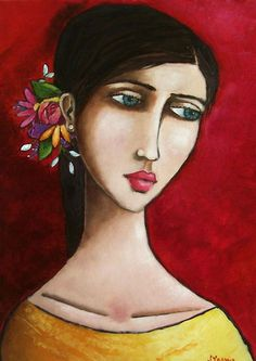 Jennifer Yoswa at Mirada Fine Art, 'Girl in Yellow,' Original Oil on Canvas, x Art And Illustration, Illustrations, Portrait Art, Portraits, Whimsical Art, Face Art, Art Faces, Figurative Art, Art Girl