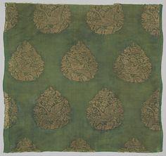 金 綠地獵鵝紋織金絹<br/>Textile with Swan Hunt