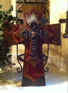 Large rustic wood cross by SignsBYDebbieHess on Etsy