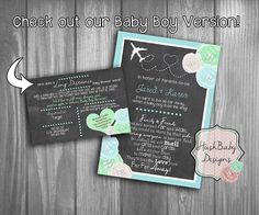 Long Distance Baby Or Bridal Shower Invitation PRINTABLE! Shabby Chic!  Rustic Chalkboard Country Lace Roses