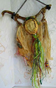 Art Doll, Wall Art OOAK Stick Doll, Spirit Doll, Healing Doll, Handmade Twig Doll, Wall Textile Art by Treasuresnwhimsy on Etsy