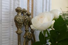 Fireplace white rose