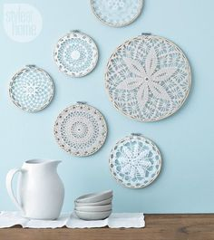 Turn old doilies into wintry wall hangings using embroidery hooks! Find the step-by-step instructions visit http://ift.tt/1YgiGa2 {Photo: Ryan Brook | Project: @cat_therrien} by styleathome