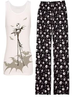 Disney Nightmare Before Christmas Jack Skellington Tank Pajama Pajamas Set For my Jillie Disney Pjs, Disney Baby Clothes, Disney Outfits, Cute Outfits, Funny Outfits, Disney Bound, Nightmare Before Christmas, Pijamas Women, Jack The Pumpkin King