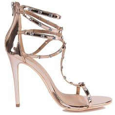 Multiple Bling Straps Sexy Heeled Sandals ($45) ❤ liked on Polyvore featuring shoes, sandals, ankle strap sandals, t-strap sandals, strappy sandals, sexy sandals and strap sandals