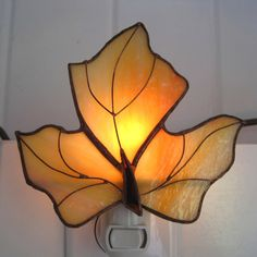 Maple Leaf Stained Glass Night Light no. 3 by hobbymakers on Etsy