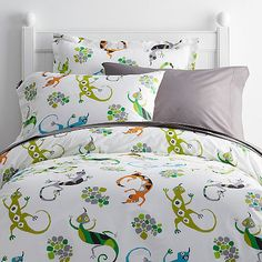 Leaping Lizards Percale Duvet Cover / Sham
