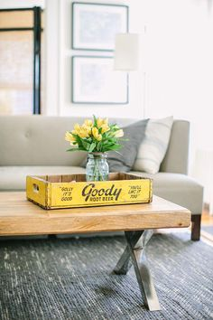 Sarah Minegar's Summit, NJ Home Tour living room yellow Decor, Home Decor Inspiration, Rustic Glam Decor, Home, Rooms Home Decor, Living Room Design Decor, Rustic Coffee Tables, Yellow Living Room, Reclaimed Wood Coffee Table