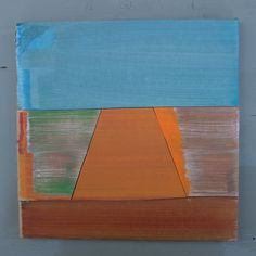Abstract Dutch landscape painting on cardboard, Holland, Groningen