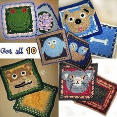 """Doggy & Bone Granny Square Crochet PATTERN - 2 different squares Immediate Download  *These can be mixed and matched with any or all of the other granny squares.  Level - Easy-Intermediate Size – Approx. 11.5"""" square. J crochet hook and worsted weight yarn. Tapestry needle optional. Smaller hook and thinner yarn can be used to make square smaller.  Yarn colors – Tan, black, white, brown, pink. Your choice of colors for Colors 1 & 2.  Additional pictures will be in the PDF file.  This…"""